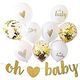 ベビーシャワーの装飾風船セット18個ラテックス風船ブライトゴールド紙吹雪リボン紐バナー(OH BABY)キットハングキラキラ男女兼用妊娠発表性別明らかにパーティー (oh baby)