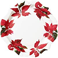 """Talking Tables植物ポインセチアデザイン使い捨てプレート11"""" forクリスマスパーティ、Dinners、レッドとホワイト(12パック)"""