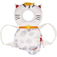 global I mall 可愛いリュック 赤ちゃんのごっつん防止やわらかリュック キッズ 乳幼児用 頭を保護できる 怪我防止 よちよち歩きの赤ちゃんにぴったり (白いネコ(メッシュタイプ))