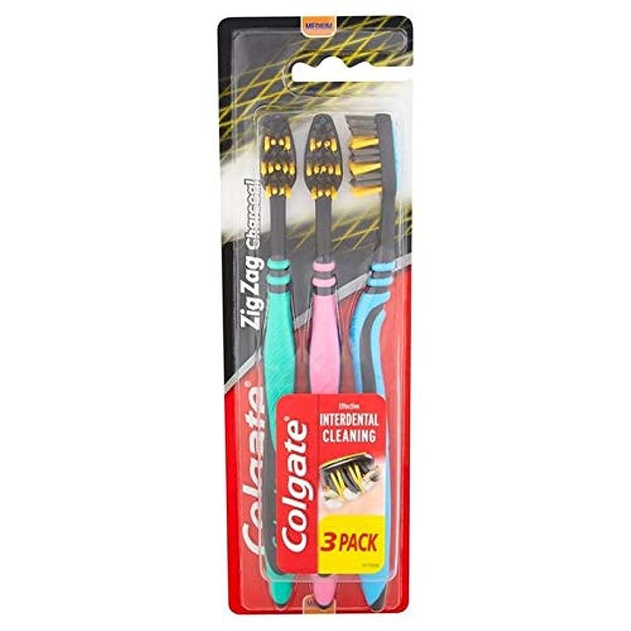 うまくやる()不健全スライム[Colgate ] パック当たりコルゲートジグザグ木炭黒媒体歯ブラシ3 - Colgate ZigZag Charcoal Black Medium Toothbrush 3 per pack [並行輸入品]