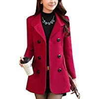 willwin Women's Double Button Woolen Fall Winter Classic Worsted Coat