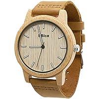 木製 腕時計 ウッド ウォッチ 竹の木 メンズ レディース 高級 ブランド 天然木 彫刻 日本製 クォーツ アナログモデル (ブラウン)
