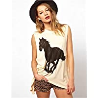 WOG2008 Womens Horse Printing Sleeveless Cotton Shirt Casual T Shirt Cute Tops Summer Vest
