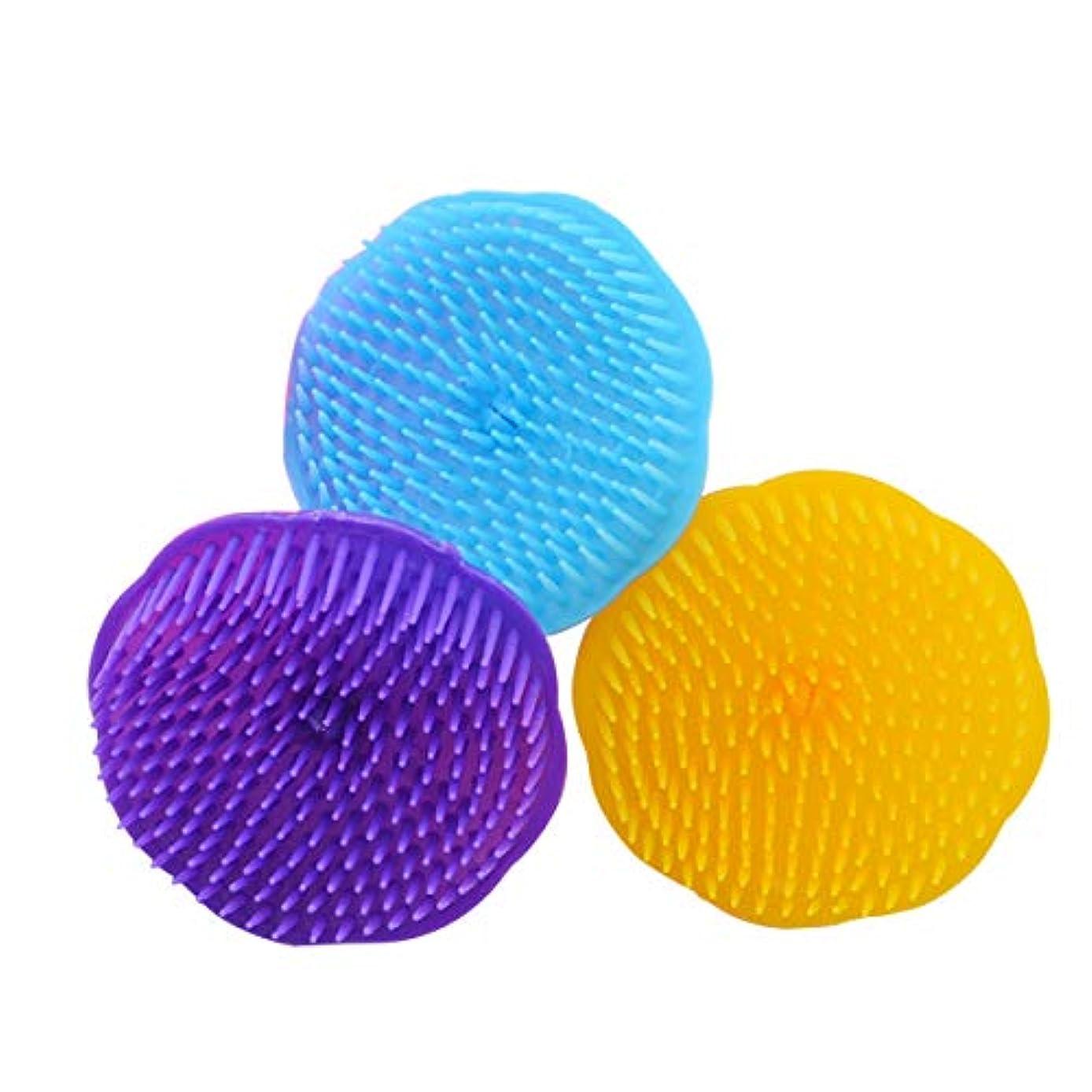 バン解く前部SUPVOX ヘアマッサージブラシ シャワーシャンプー頭皮ブラシヘッドボディマッサージスパスリミングブラシ3PCS(ランダムカラー)