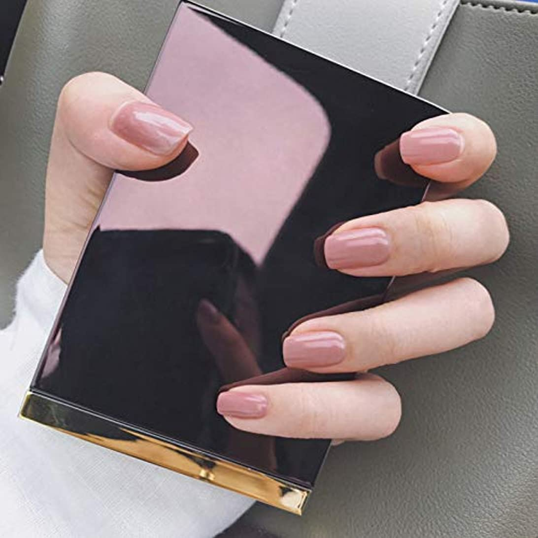 オフィスネイルチップ 24枚 ショートつけ爪 シンプルワンカラーレディースカラージェル (ディープピンク)