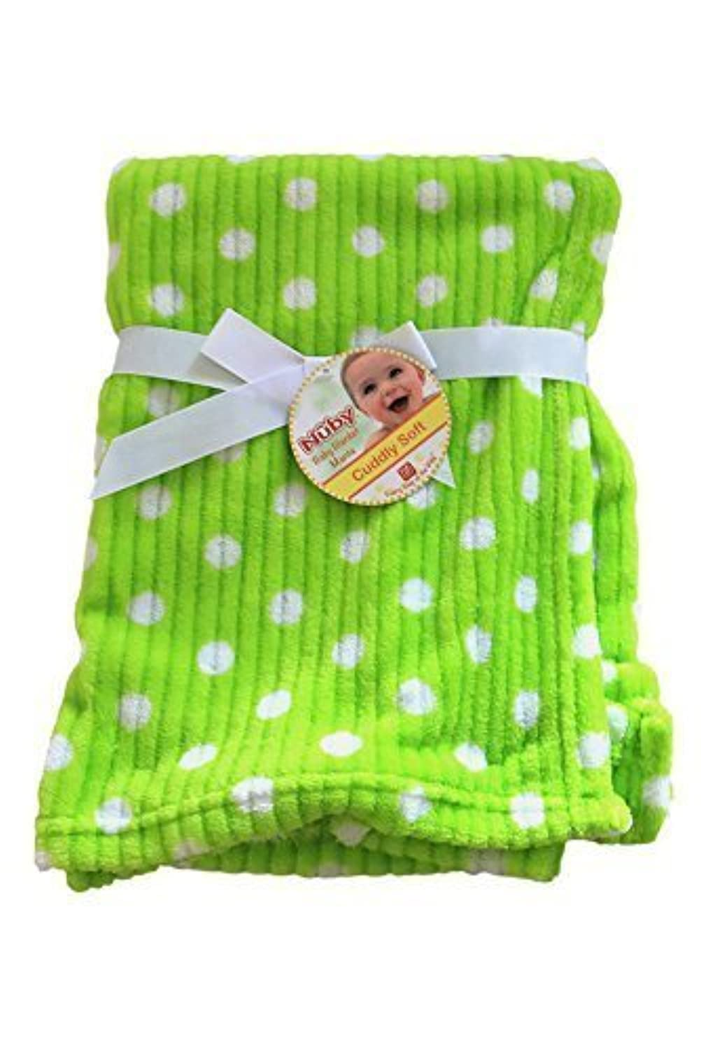 Nuby Cuddly Soft Unisex Baby Blanket - Green and White [並行輸入品]