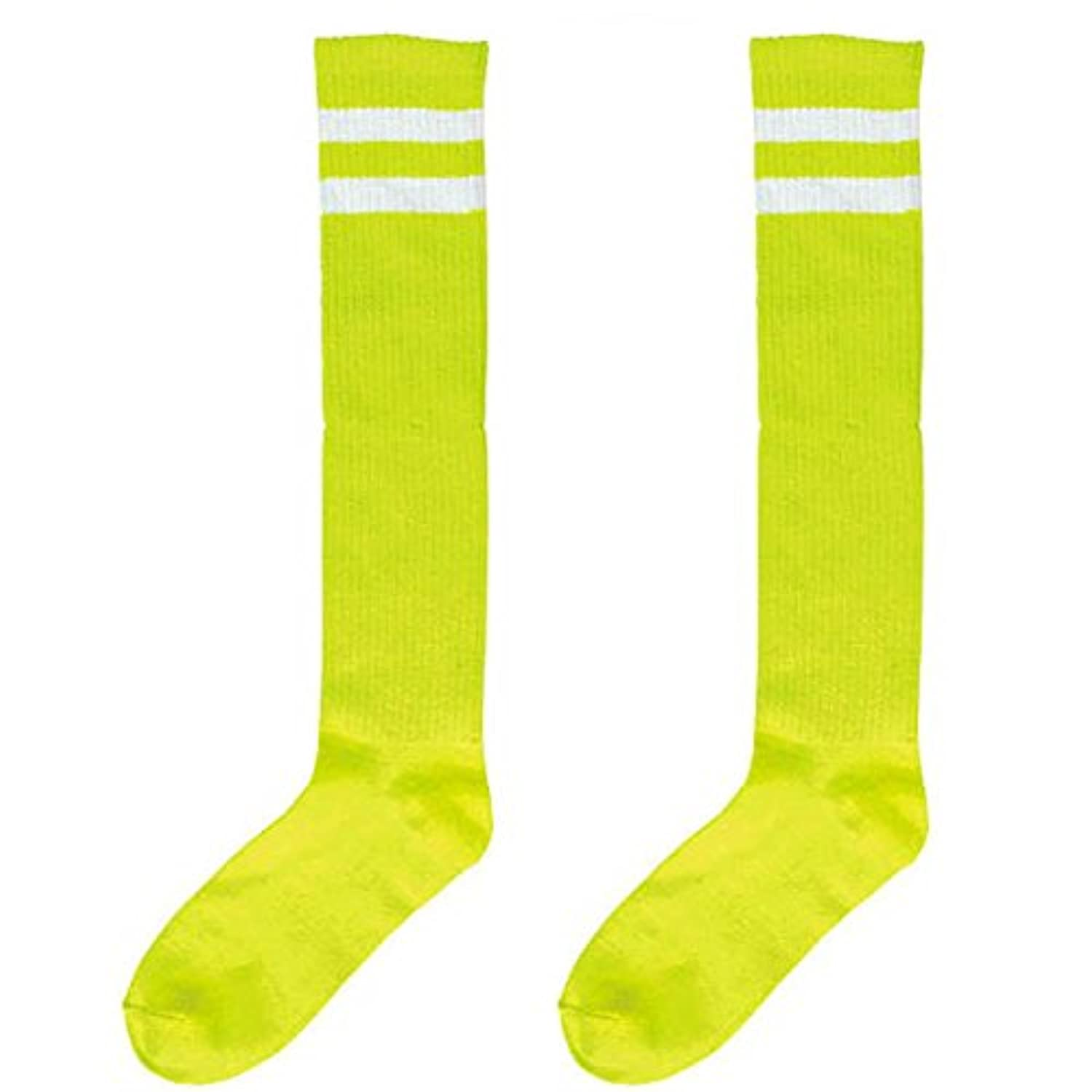 Amscan Standard Knee High Socks with White Stripes Sports Costume Party Apparel, Neon Green, Fabric, 19