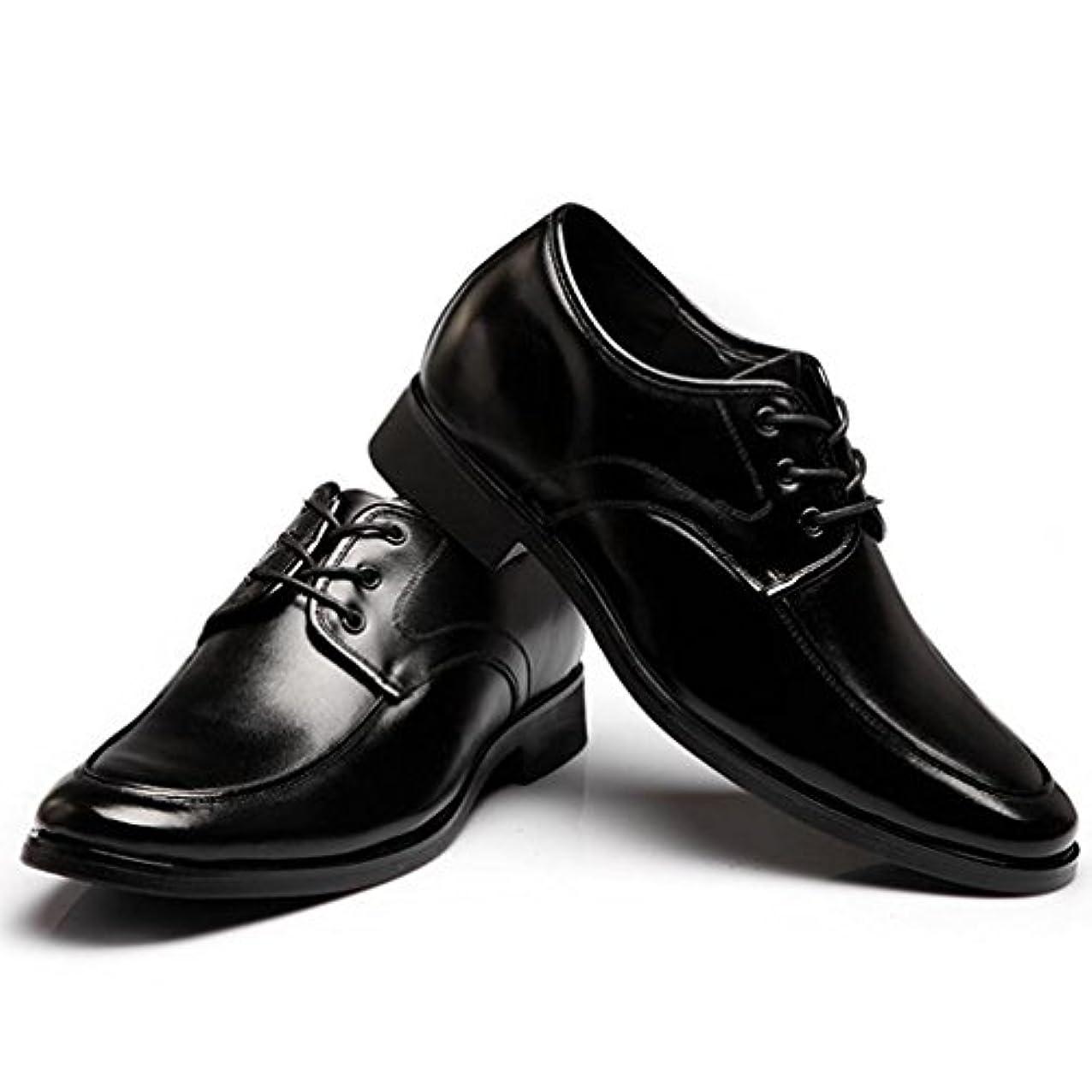 みすぼらしいクルーズ聞きます[XINXIKEJI]シークレットシューズ ビジネスシューズ メンズ インヒール 6cmUP 背が高くなる 内羽根 軽量 防滑 屈曲性 心地良い おしゃれ 通勤/カジュアル フォーマルシューズ 紳士靴 ブラック/黒