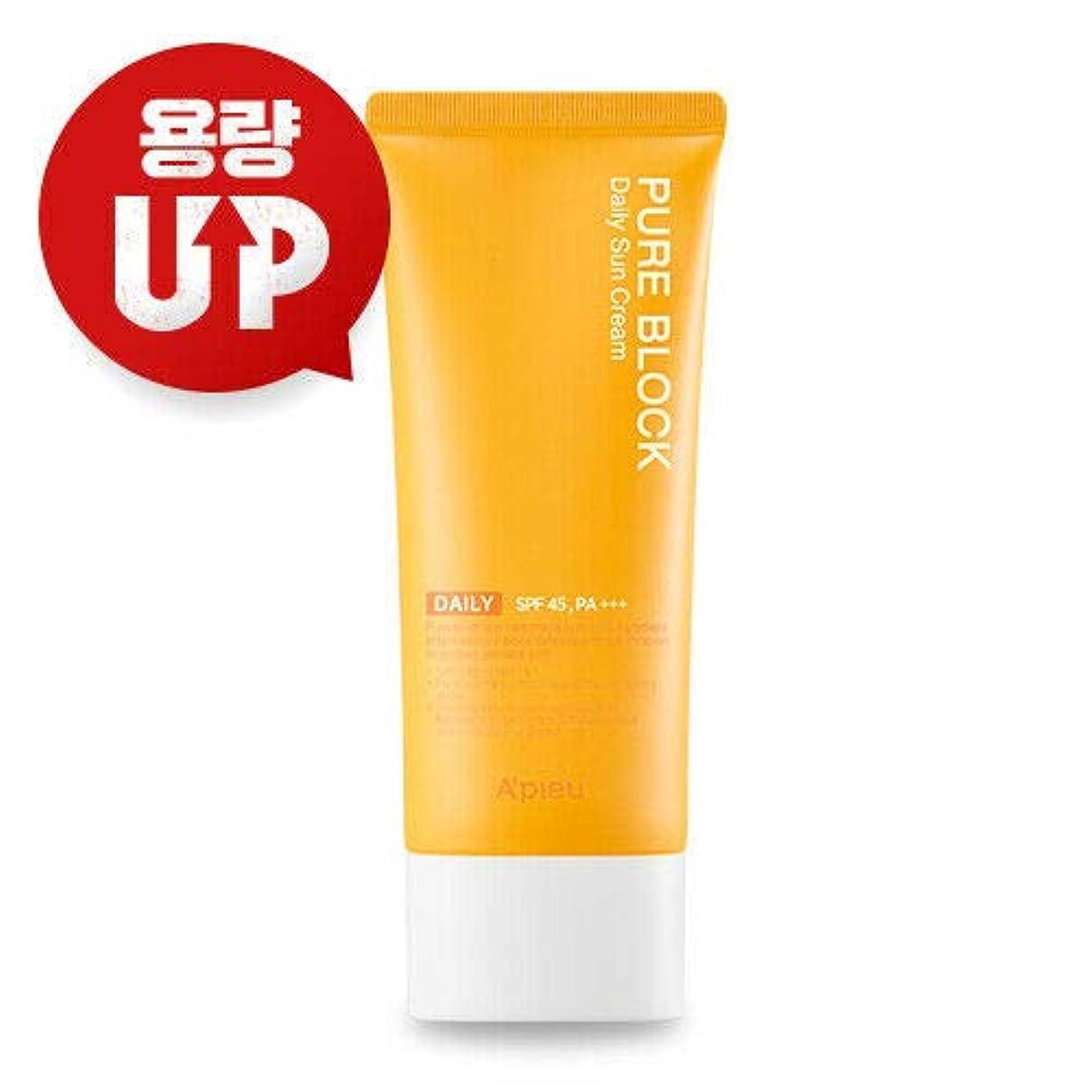 余分な有名気分が悪いA'PIEU オピュ ピュアブロックナチュラル サンクリーム APIEU PURE BLOCK Natural Sun Cream 100ml SPF45/PA+++