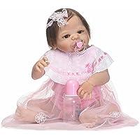 解剖学的に正しいフルボディシリコンRebornベビーガール人形22インチRealistic新生児キッズBath Toysマグネットおしゃぶりファイバーヘア