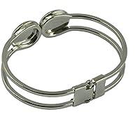 Dolity 2Pcs Brass 16mm Base Tray Setting Blank Bangle Bracelet For DIY Jewelry Making