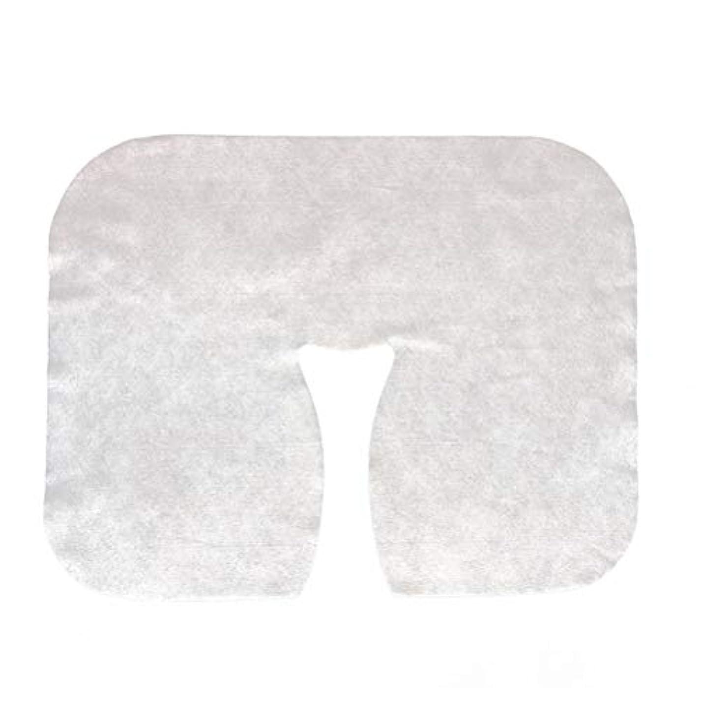 準備したキャメルチョークLurrose 200枚 使い捨て マッサージ フェイスクレードル カバー フェイスマッサージヘッドレストカバースパ美容サロンマッサージ用マット(ホワイト)