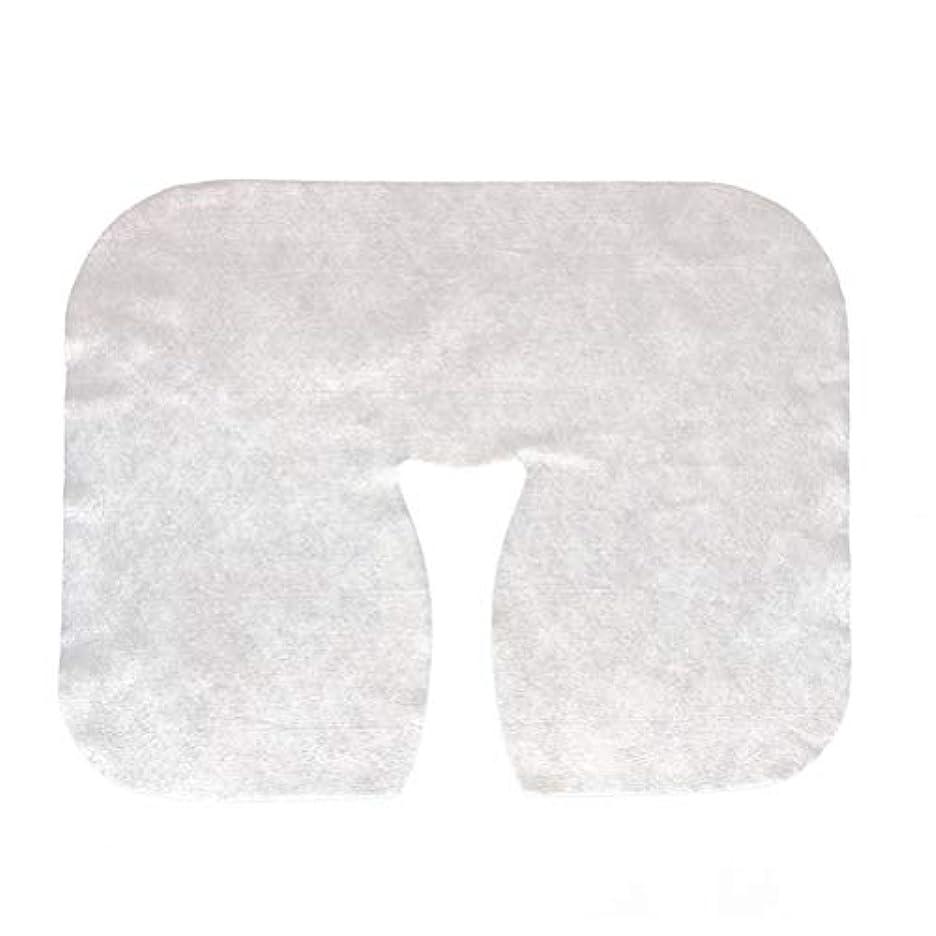 柱モチーフ力強いLurrose 200枚 使い捨て マッサージ フェイスクレードル カバー フェイスマッサージヘッドレストカバースパ美容サロンマッサージ用マット(ホワイト)