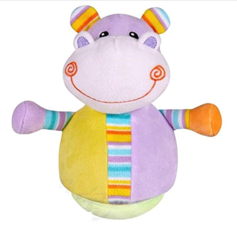 KEANER 新生児 乳児 ロール-ポリ おもちゃ 愛らしいゾウ カラフル ソフト ハンドラトル クローリング キッズ ベル ボール おもちゃ ギフト (ヒッポ)