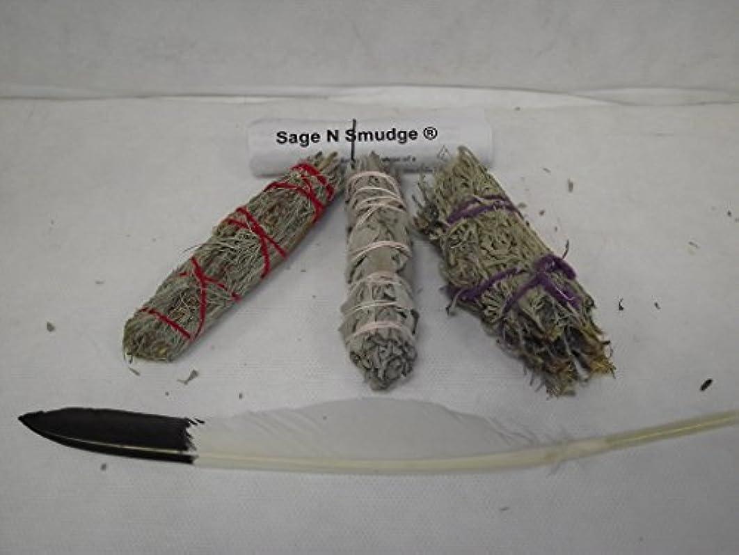 何でも地雷原軍セージSmudgeキットホワイトセージDesert Sage and Sacred Sageサンプラーパックwith Feather