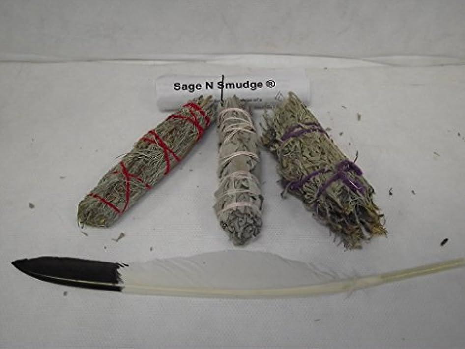 気分が悪いミネラル抽出セージSmudgeキットホワイトセージDesert Sage and Sacred Sageサンプラーパックwith Feather