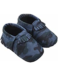 Zerowin Baby Toddler Warm Shoes Pu Leather Tassels Camouflage Prewalker Spring Summer Boots Soft Crib Shoes (6...