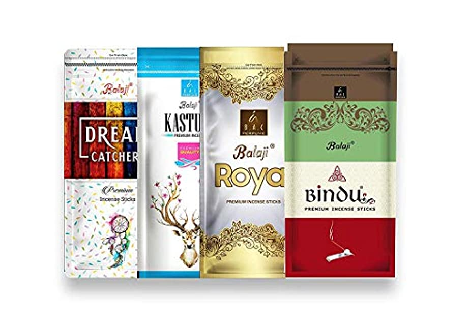 エール二層慈悲深いBalaji Incense Sticks - Zipper Combo Pack of 4 - Bindu, Royal, Kasturi, Dream Catcher - Monthly Pack AGARBATTI...