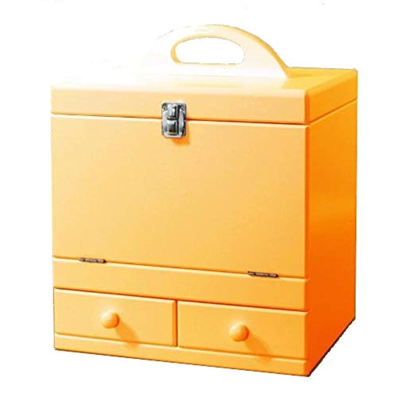 ウミウシハウスめんどりメイクボックス 三面鏡付き(色:ナチュラルオレンジ) tu-852 カラフルコスメボックス