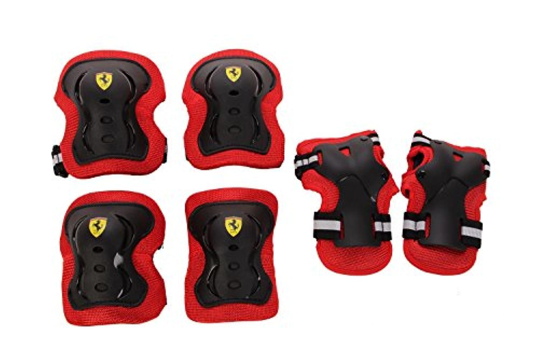 Ferrari(フェラーリ) キッズ用プロテクター3点セット(ひじ?ひざ?手のひら) 自転車?キックスクーター?スケートボードなど 【S/M/Lサイズ?ブラック/レッド】