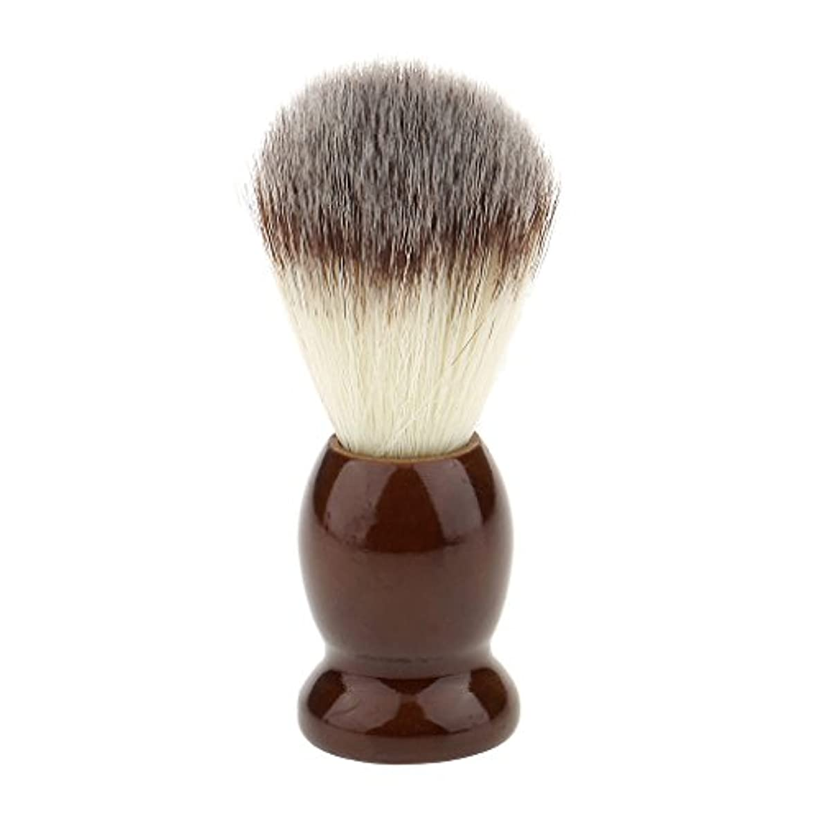 印をつけるヘルメット膨らませるナイロン製 シェービングブラシ 柔らかい 理容 洗顔 髭剃り 便携 10.5cm ブラウン