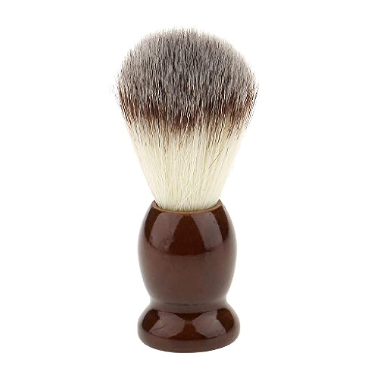却下する延ばす着るナイロン製 シェービングブラシ 柔らかい 理容 洗顔 髭剃り 便携 10.5cm ブラウン