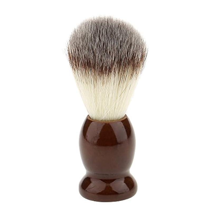 はちみつ報告書急ぐナイロン製 シェービングブラシ 柔らかい 理容 洗顔 髭剃り 便携 10.5cm ブラウン