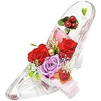 [florence du] プリザーブドフラワー 3輪バラ・かすみ草 ハイヒールアレンジメント レッド ガラスの靴 結婚祝い プレゼント 誕生日