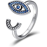 CZ Evil Eye Promise Eternity Statement Open Rings Sterling Silver S925 Adjustable Blue Simulated Sapphire Micro Pave Stacking Ring Wrap Finger Band Fashion Jewelry for Women Girls