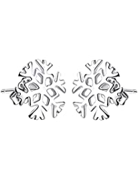 Spaufu Christmas Exquisite Stud Earring Form of Snow Pattern for Woman Jewelry Ornaments Theme Party Masquerade Accessories Alloy Sliver Color 1pair