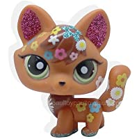 LHJ #2341 Littlest Pet Shop LPS Brown Red Sparkle Fox Green Eyes Dog Toy
