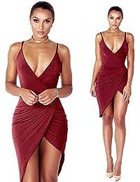 Yumbyss - 夏のドレスの女性のストラップディープVネックビーチドレスセクシーなパーティードレスローブフェムボディコンドレスVestidos Veranoの