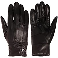 Emmalise Women Lady Genuine Leather Glove Faux Fur Lining Winter Christmas Gift