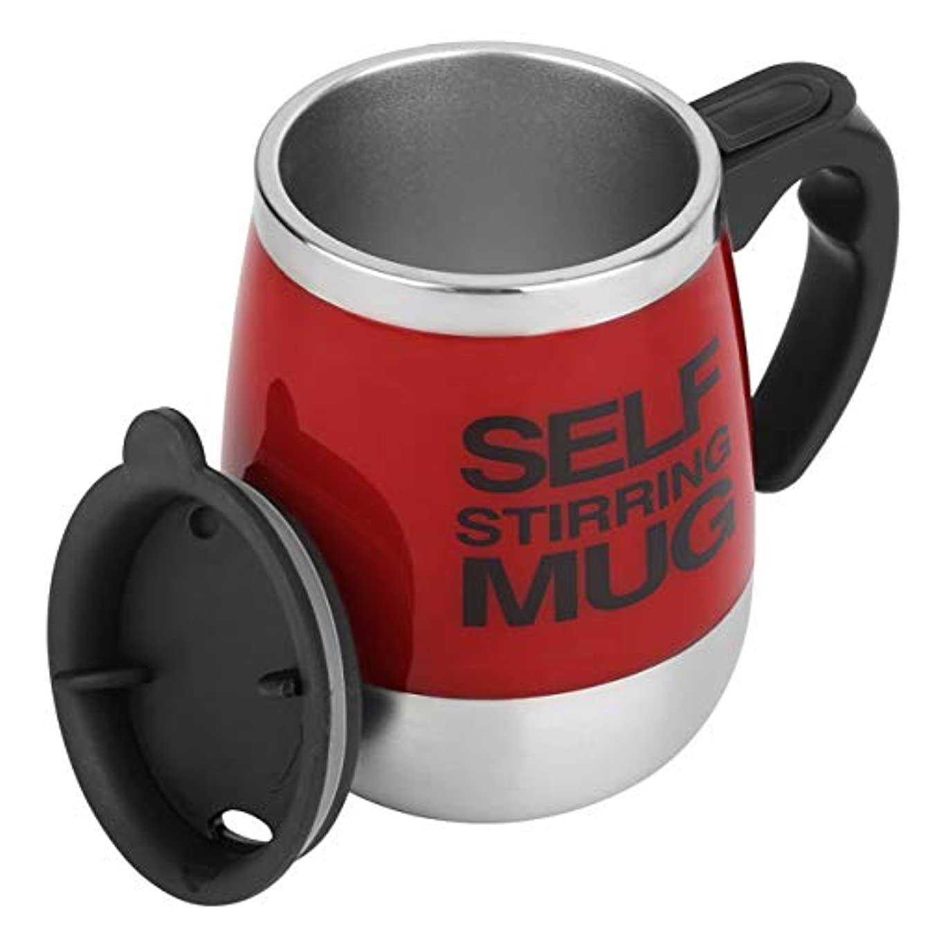 ブレークアジテーション貧しいSaikogoods 450ミリリットル ステンレス鋼 自己攪拌マグカップ 自動ミキシング ティーコーヒーカップ 自動 電気コーヒーカップを飲みます 赤
