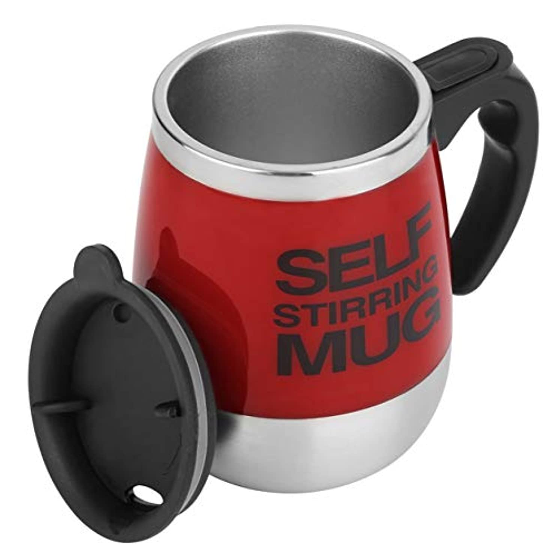 中級振動する意気揚々Saikogoods 450ミリリットル ステンレス鋼 自己攪拌マグカップ 自動ミキシング ティーコーヒーカップ 自動 電気コーヒーカップを飲みます 赤
