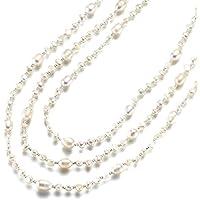 Strength そろそろ本物志向 淡水パール ネックレス  (160cm, 3連 ) 淡水 真珠 首飾り パール アクセサリー レディース (ホワイト 3連OK)
