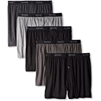 Hanes Men's 5-Pack Ultimate FreshIQ Dyed Exposed Waistband Knit Boxer with ComfortFlex Waistband