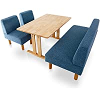 LOWYA (ロウヤ) ソファダイニングセット ダイニングセット ダイニングテーブル 無垢材 木製天板 角丸 幅120 奥行75cm コンパクト ネイビー おしゃれ 新生活