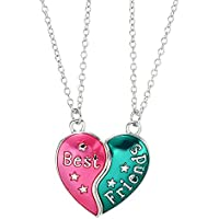 Fsmiling 2 Pack Best Friends Colorful Pendant Friendship Necklace Set Kid Girls