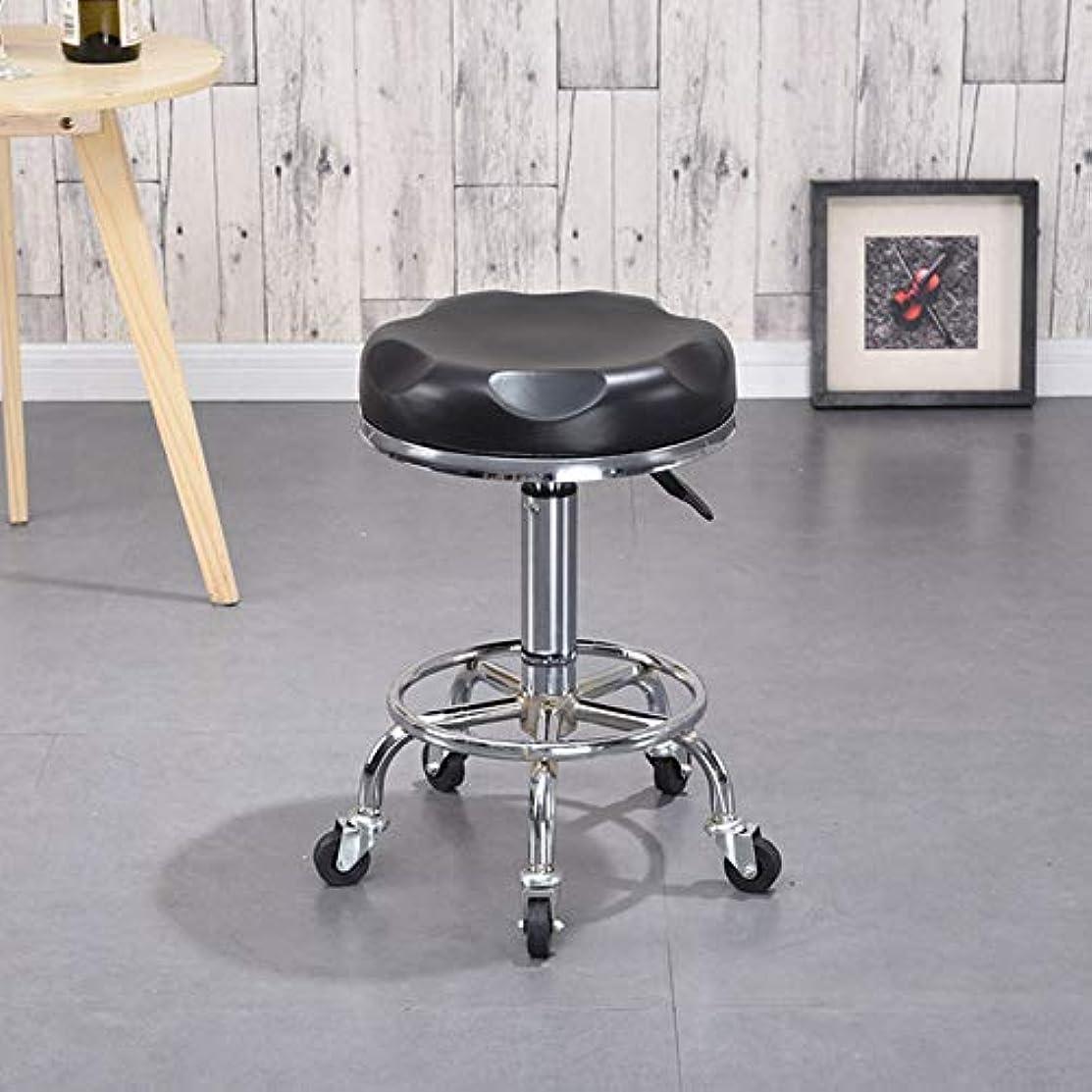 粗い手のひら一口ローリング回転スツール製椅子、車輪付き、メタル三脚、マッサージスパサロン美容理髪マニキュアキッチンギターオフィス,BlackA