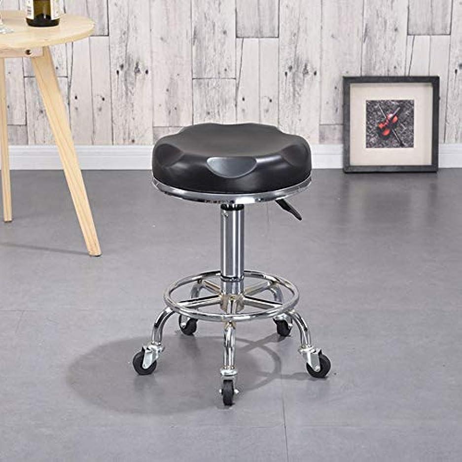 集団的雑種余剰ローリング回転スツール製椅子、車輪付き、メタル三脚、マッサージスパサロン美容理髪マニキュアキッチンギターオフィス,BlackA