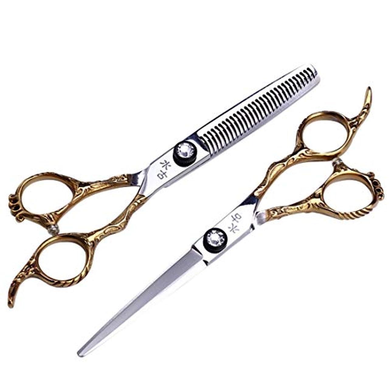 絶えずヘルメット頂点Jiaoran プロの理髪はさみ、歯はさみ+フラットシャーリングセット6.0インチ理髪サロンツールセット (Color : Gold)