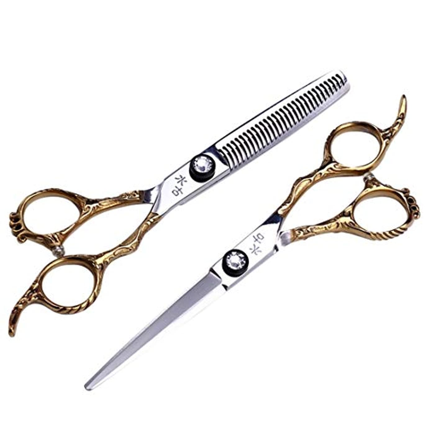 味わうロマンチック請求Jiaoran プロの理髪はさみ、歯はさみ+フラットシャーリングセット6.0インチ理髪サロンツールセット (Color : Gold)