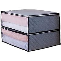 AG 活性炭 布団収納袋 2枚セット (グレー) 改良版 持ち手部分 透明ビニール補強 布団 毛布 衣類 スッキリ収納 湿気防止 防虫 防カビ