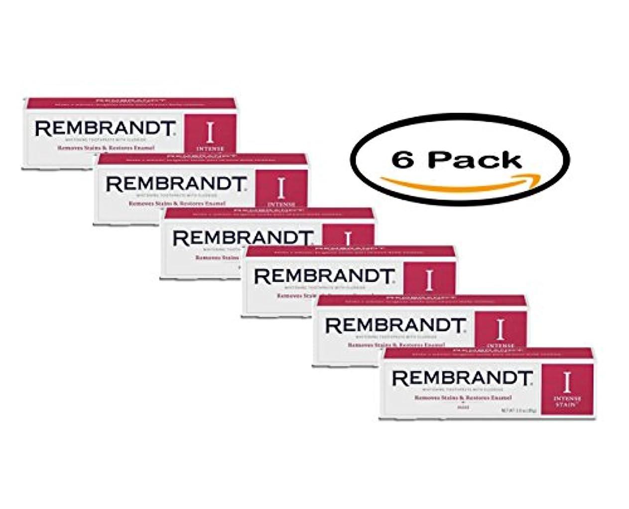 蒸発する日帰り旅行に吸い込む海外直送品 レンブラントインテンスステイン Rembrandt Intense Stain Whitening Toothpaste, Mint, 3.5 oz Pack of 6