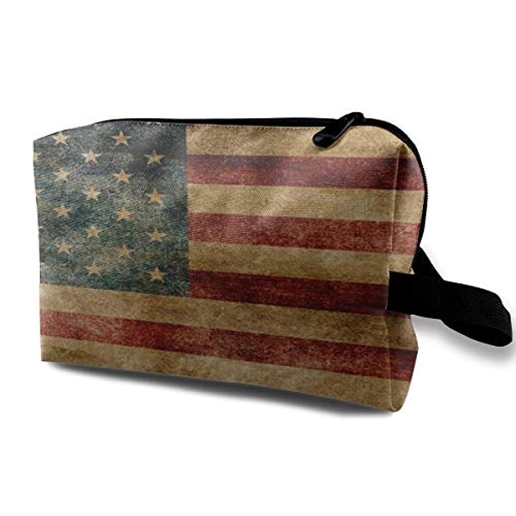 運営ビーチ疼痛American Flag Pattern 収納ポーチ 化粧ポーチ 大容量 軽量 耐久性 ハンドル付持ち運び便利。入れ 自宅?出張?旅行?アウトドア撮影などに対応。メンズ レディース トラベルグッズ