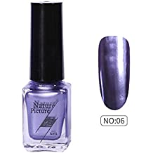 (F) - Yuan Mirror Nail Polish,Metallic Mirror Effect Stainless Steel Solid colour No sequins (F)