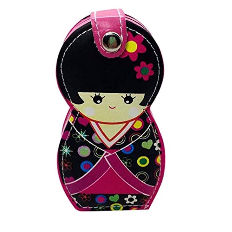 モーション明日定規Hongma ネイルケアセット マニキュアセット 可愛い 日本人形 ロシア人形 グルーミングキット 爪やすり 爪切りセット 携帯便利 収納ケース付き (日本人形ピンク)
