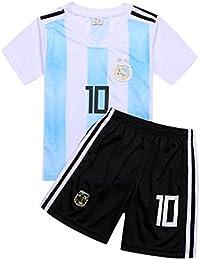 サッカー2018 ユニフォーム 上下セット メッシ 背番号10 Lionel Messi リオネル・アンドレス・メッシ キッズ服 子供用 (子供XL, メッシ) (XL)