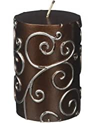Zest Candle CPS-005-12 3 x 4 in. Brown Scroll Pillar Candle -12pcs-Case- Bulk